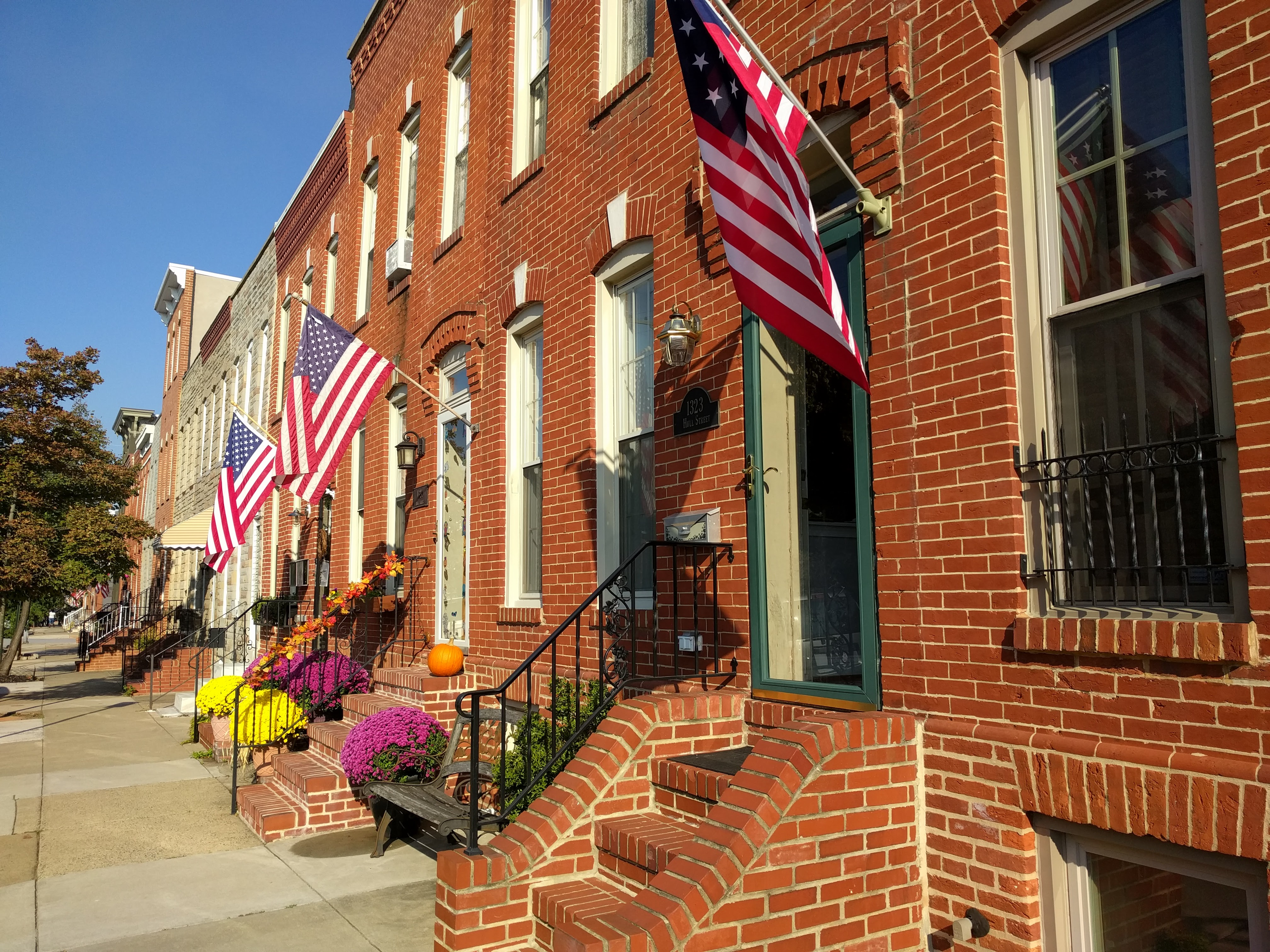 Locust Point - Flags and Rowhomes - Free Baltimore Photographs